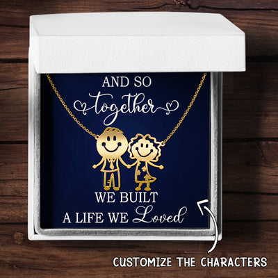 Family Character - Together We Built - Personalized Custom Necklace