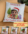 Baby's First Christmas - Personalized Custom Linen Pillow - Christmas Gifts, Newborn Gifts