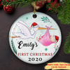 New-born Baby's First Christmas - Personalized Ceramic Christmas Ornaments