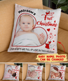 Baby First Christmas Pillow - Personalized Custom Photo Pillow - Christmas Gifts