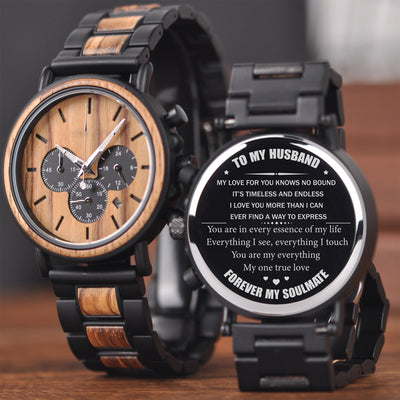TO MY HUSBAND - TIMELESS AND ENDLESS - WOOD WATCH