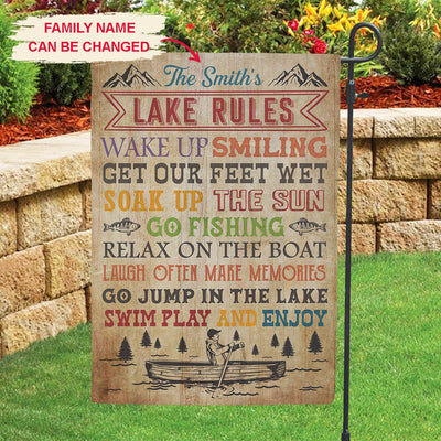 Personalized custom garden flag - Lake rules - Gifts for Lake lovers - 2522