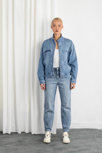 BLOSSOM - Jacket, Organic Lightweight Denim, Mid Blue