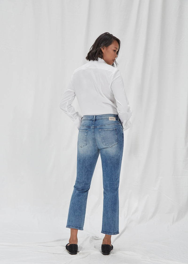 SKY - Flared, Organic Comfort Denim, Mid Blue