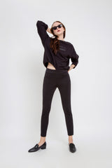 SUN UP - Skinny, Scuba Leggings, Black