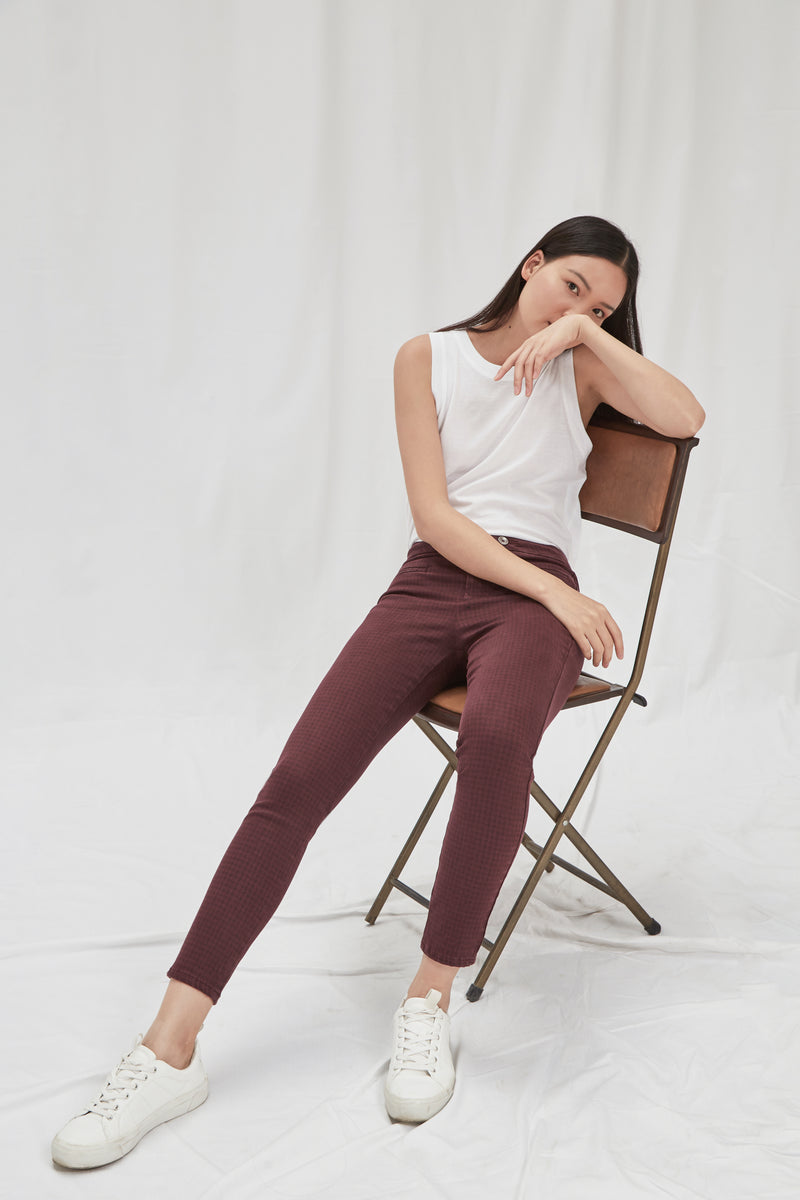 SUN UP - Skinny, Sustainable Color Denim, Houndstooth