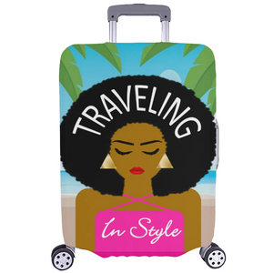 Traveling Aruba Lady Luggage Cover