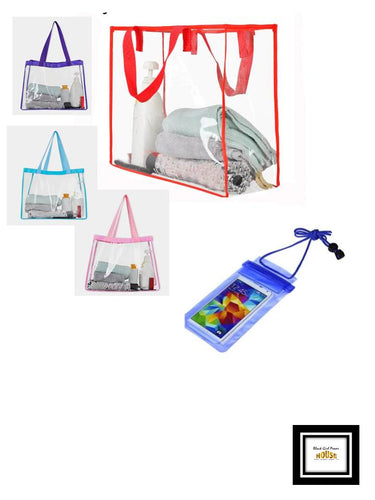 Transparent Travel/Beach Bag with Waterproof Case for Cellphone.