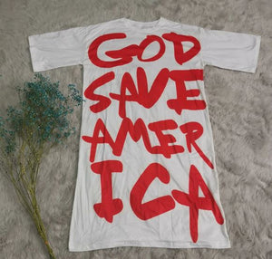 GOD SAVE AMERICA Oversized T-Shirt Dress
