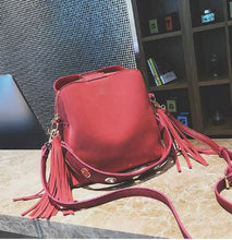 Load image into Gallery viewer, Vintage Bucket Crossbody Bag with Tassels