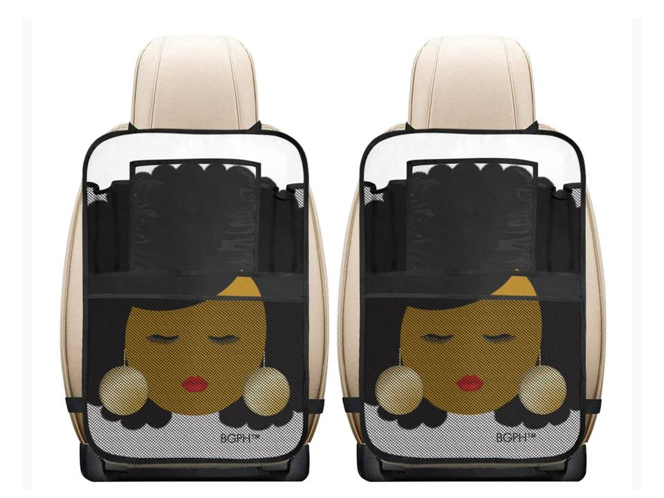 2 Afro Woman Car Seat Organizers with Pouches