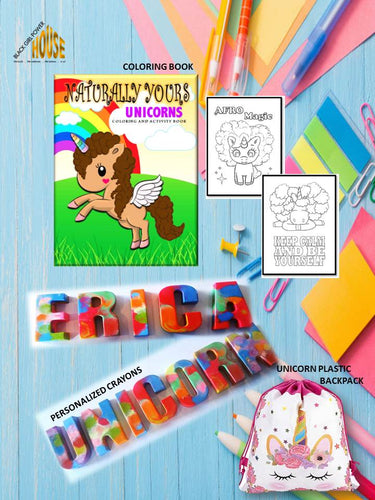Naturally Yours Coloring/Activities Book, Personalized Crayons and Unicorn Bag