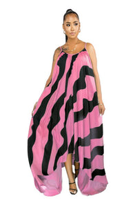 Spaghetti Strapped Maxi Dress with Stripes
