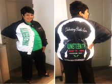 Load image into Gallery viewer, Juneteenth Natural Woman Baseball Jacket