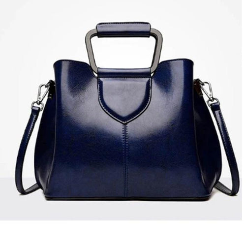 Rich Leather Handbag with Silver Handle