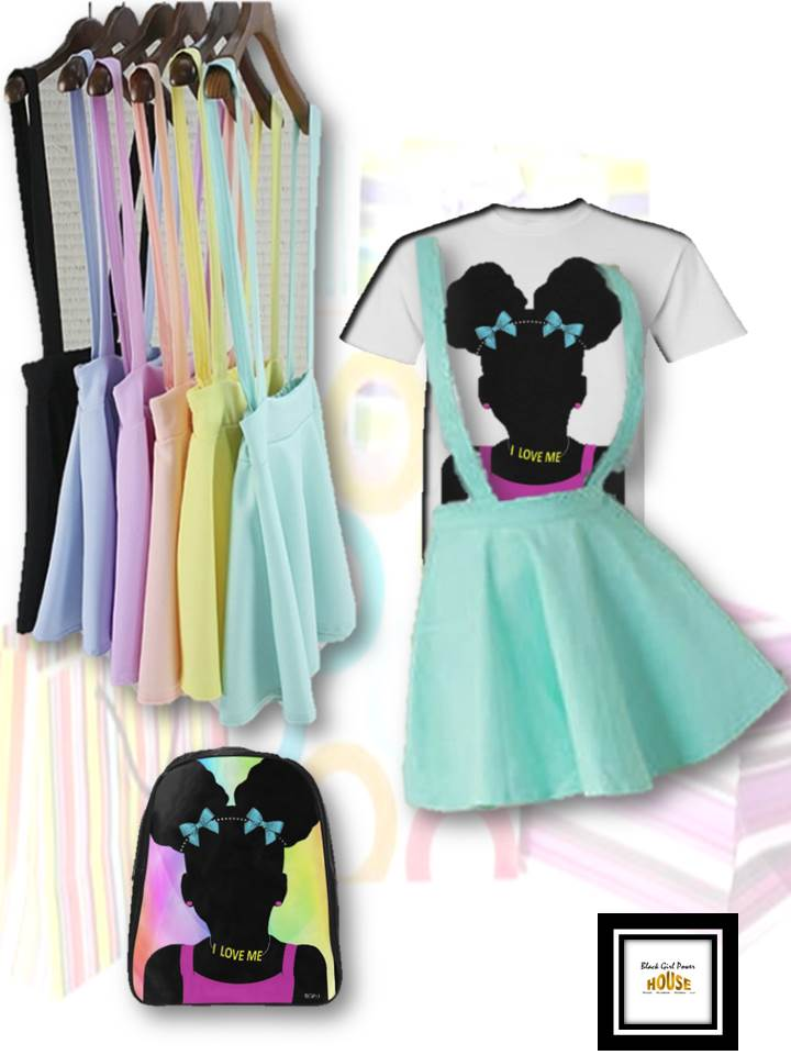 Girls Candy Color Suspenders Mini-Skirt