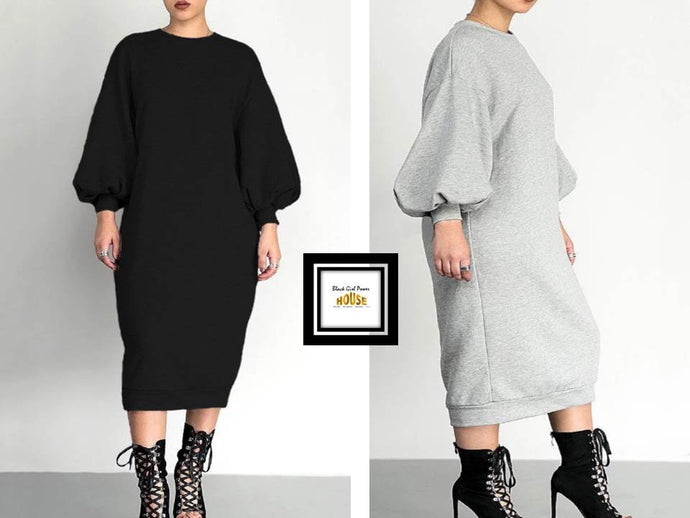 Puff Sleeve Sweatshirt Dress