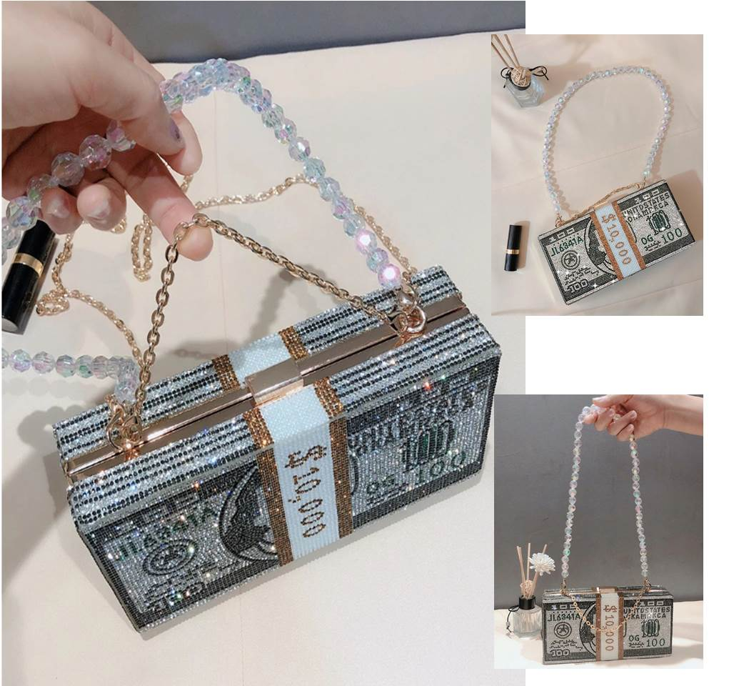 Stack of Cash Bling Clutch Purse