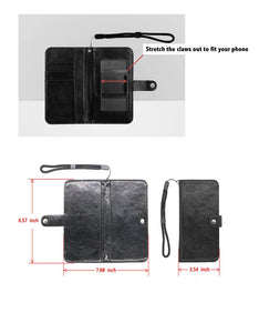 Leather Wristlet Wallet with Cell Phone Holder