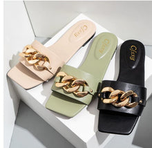 Load image into Gallery viewer, Gold Chain Link Sandals
