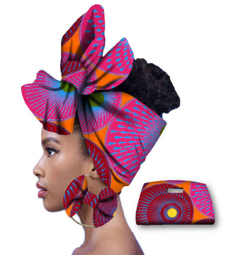 Rich African Head Scarf & Earrings (Style 2)