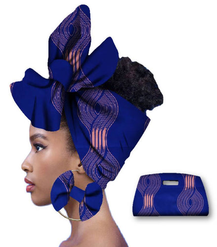 Rich African Head Scarf & Earrings (Style 3)