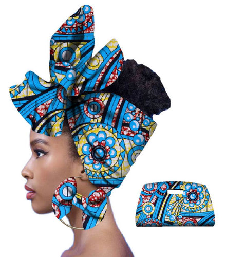 Copy of Rich African Head Scarf & Earrings (Style 4)