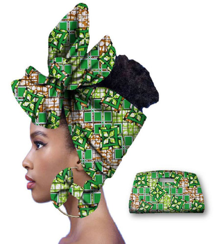 Rich African Head Scarf & Earrings (Style 5)