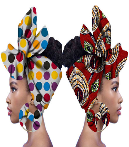 African Head Scarf & Earrings (Style 6)