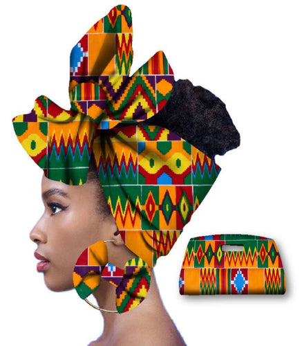 Rich African Head Scarf & Earrings (Style 1)