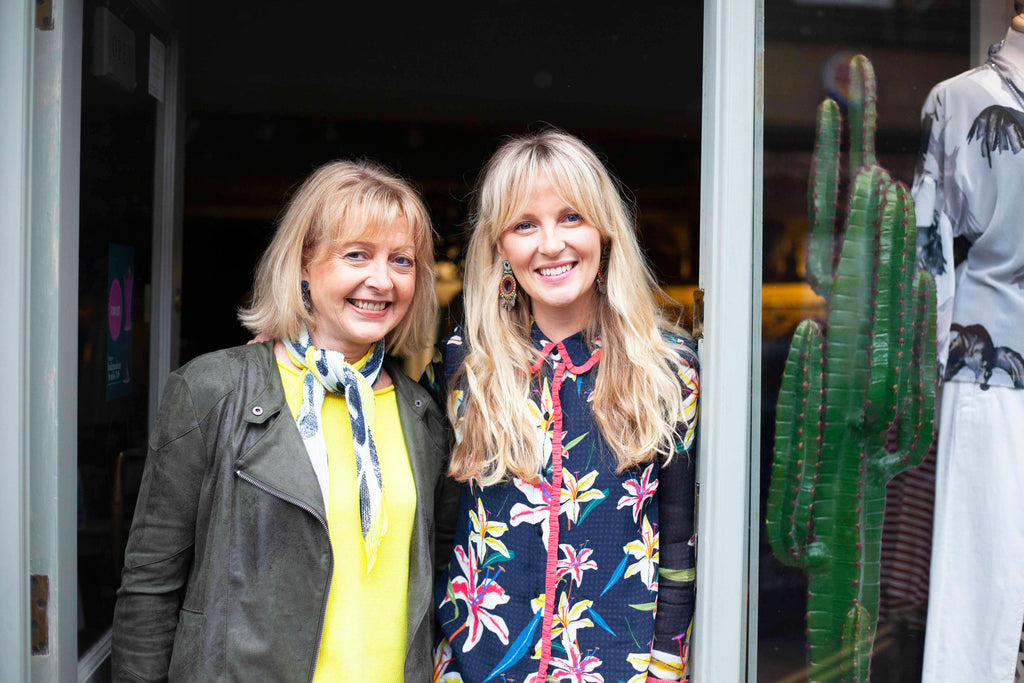 Nat & Jan outside OSOboutique High Street store in Salisbury