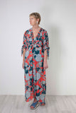 Bl-nk Verbana Maxi Dress - Teal & Coral Print