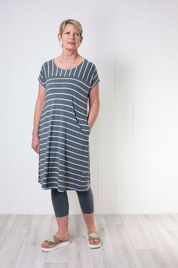 Two Danes Baja Dress - Grey Stripe