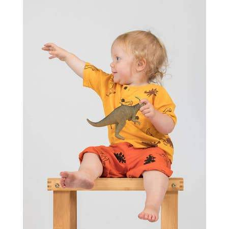 HAND BLOCK PRINTED BOYS DINOSAUR HEM SHORTS | ORANGE - Spinel Boutique
