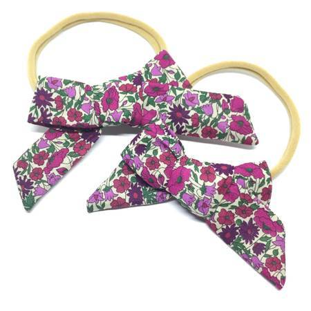 FLORAL CHUNKY HAIR BOW - Spinel Boutique