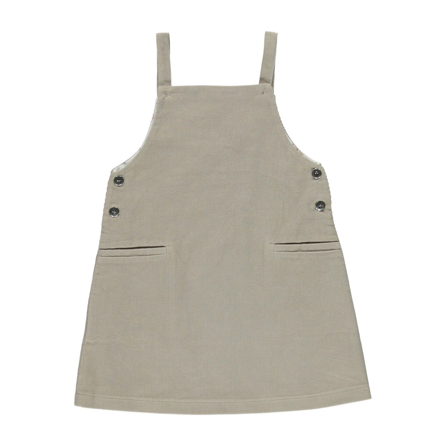 ORGANIC VIKTORIA PINAFORE, SIMPLE TAUPE | BEBE ORGANIC - Spinel Boutique