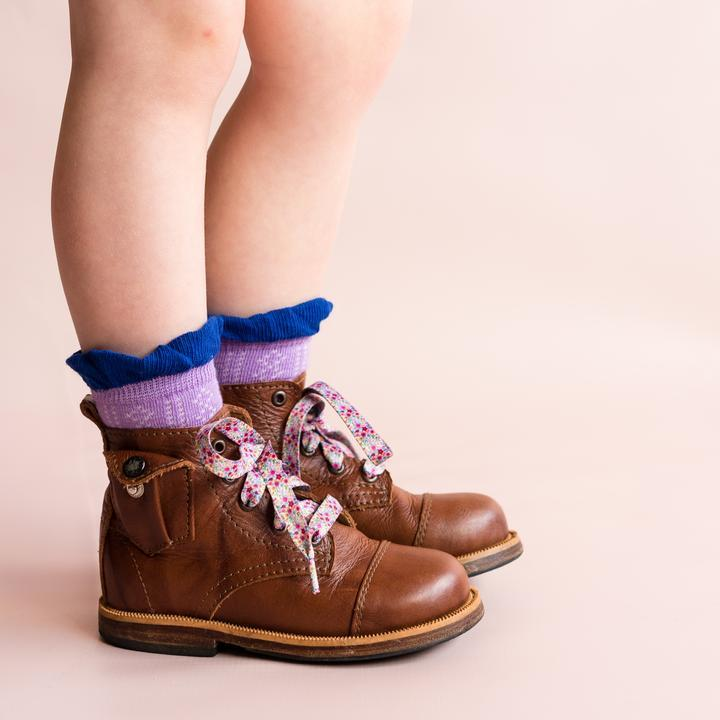 RUFFLE ACCENT ANKLET SOCKS | IRIS TWO TONE - Spinel Boutique