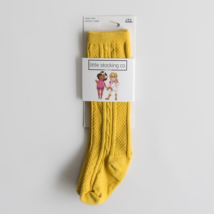 CABLE KNIT KNEE HIGH SOCKS | MUSTARD - Spinel Boutique