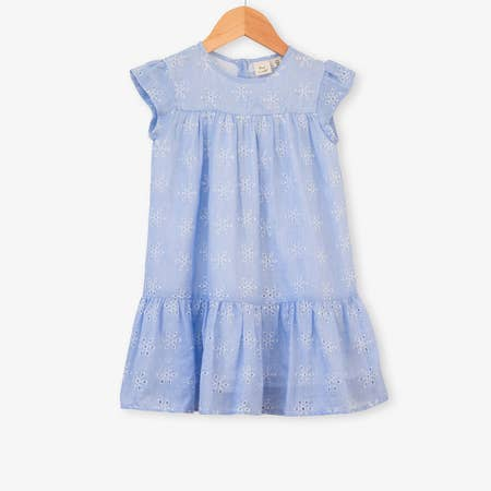 ROSIE DRESS IN BLUE BRODERIE - Spinel Boutique