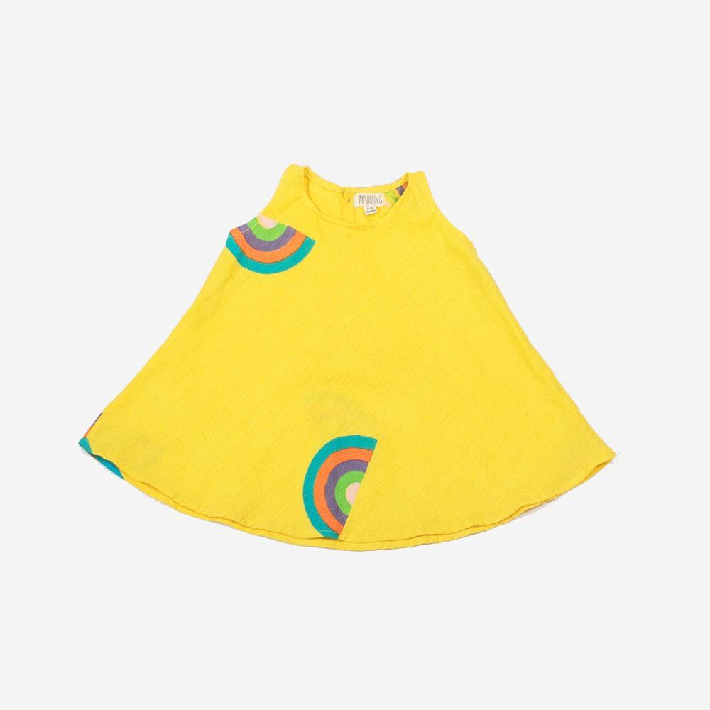 HAND BLOCK PRINTED RAINBOW GIRLS COTTON DRESS | SUNSHINE - Spinel Boutique