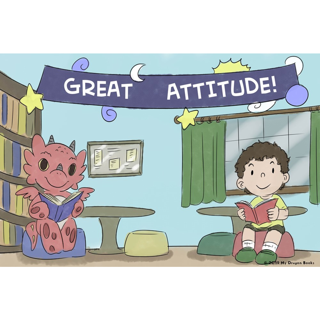 Great Attitude Art Print (Dragon Affirmations For Kids)