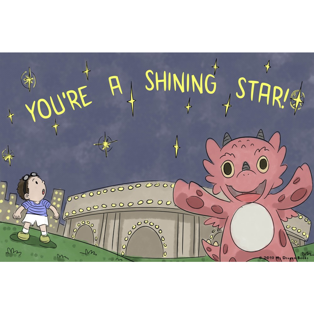 You're a Shining Star Art Print (Dragon Affirmations For Kids)