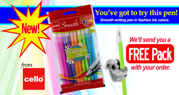 Smooth Writing Pen from Cello comes in assorted ink colors.