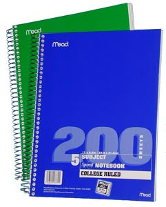 Mead 5 Subject Notebook, CR, #06780