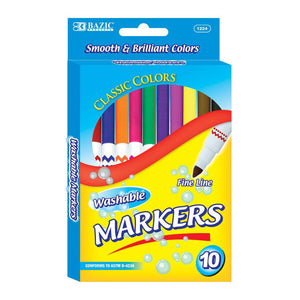 Washable Markers, Fine Pt, 10 ct. (24 boxes/unit), #1224 (A-25)