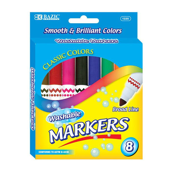 Washable Markers, Broad Pt, 8 ct. (24 boxes/unit), #1225
