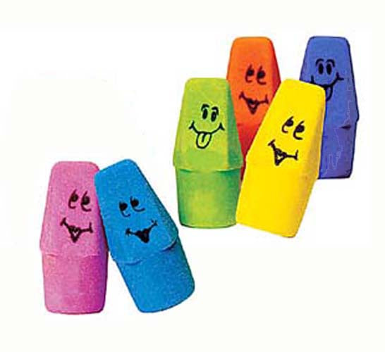 Funny Face Pencil Top Eraser,  #1483