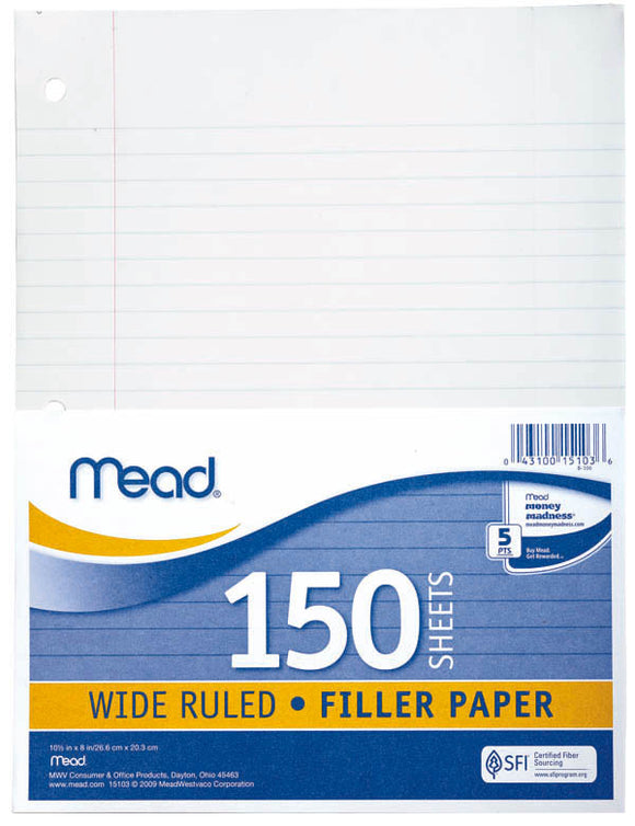 Mead WR Loose Leaf Paper, 150 ct, #15103