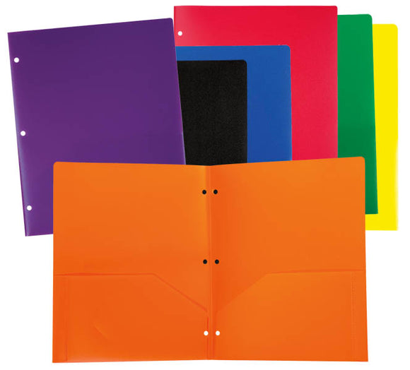 Pocket Folder, Poly 3 hole punched, #33930