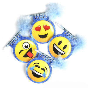 Emoticon Memo & Maribou Feather Pen Set, #42749